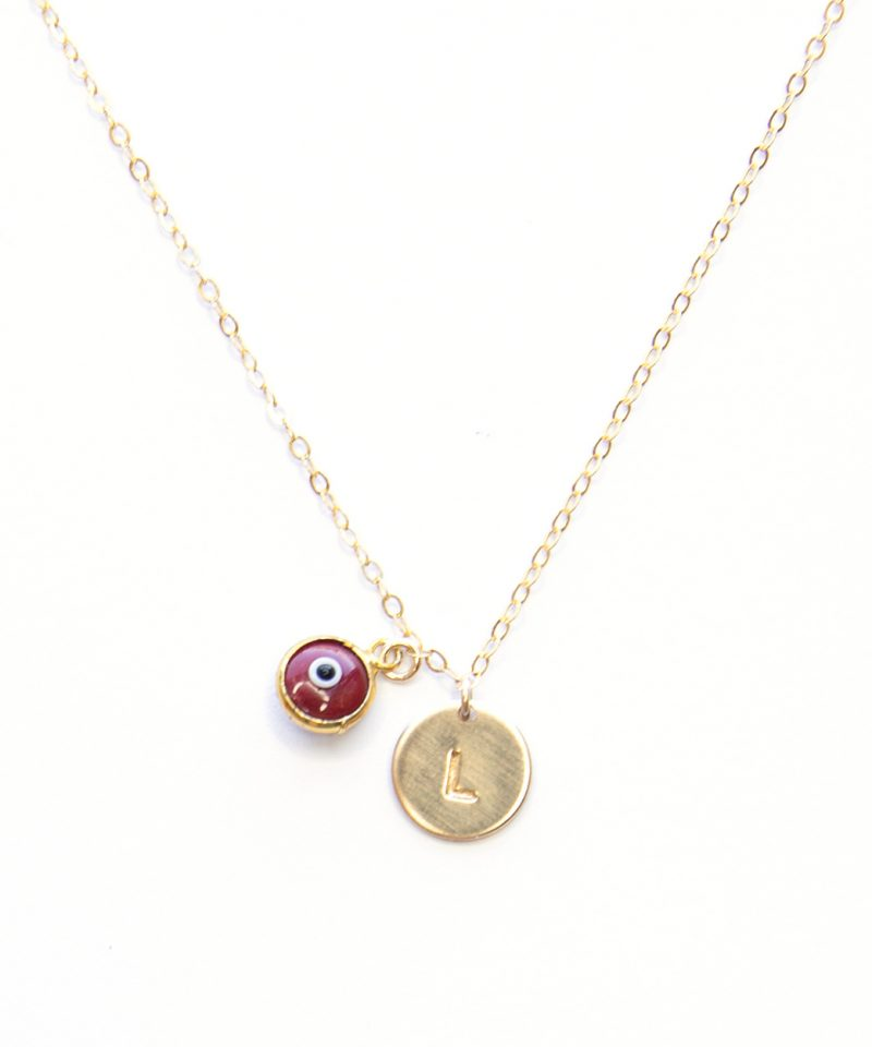 Monogram Evil Eye Necklace – Red