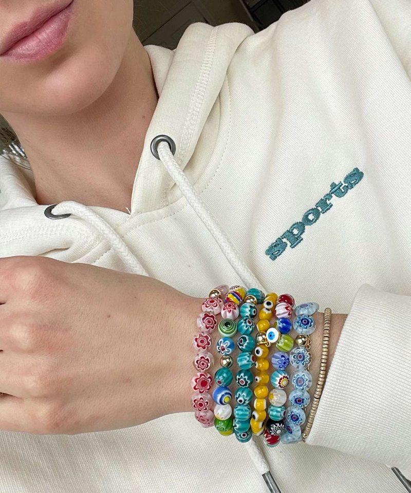 Flower Power Bracelet 10mm – Ice Blue