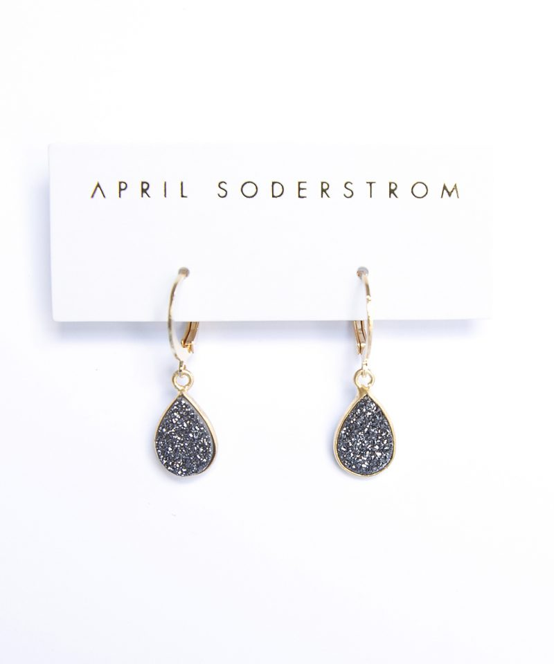Swarovski Drop Earrings – Black Drusy