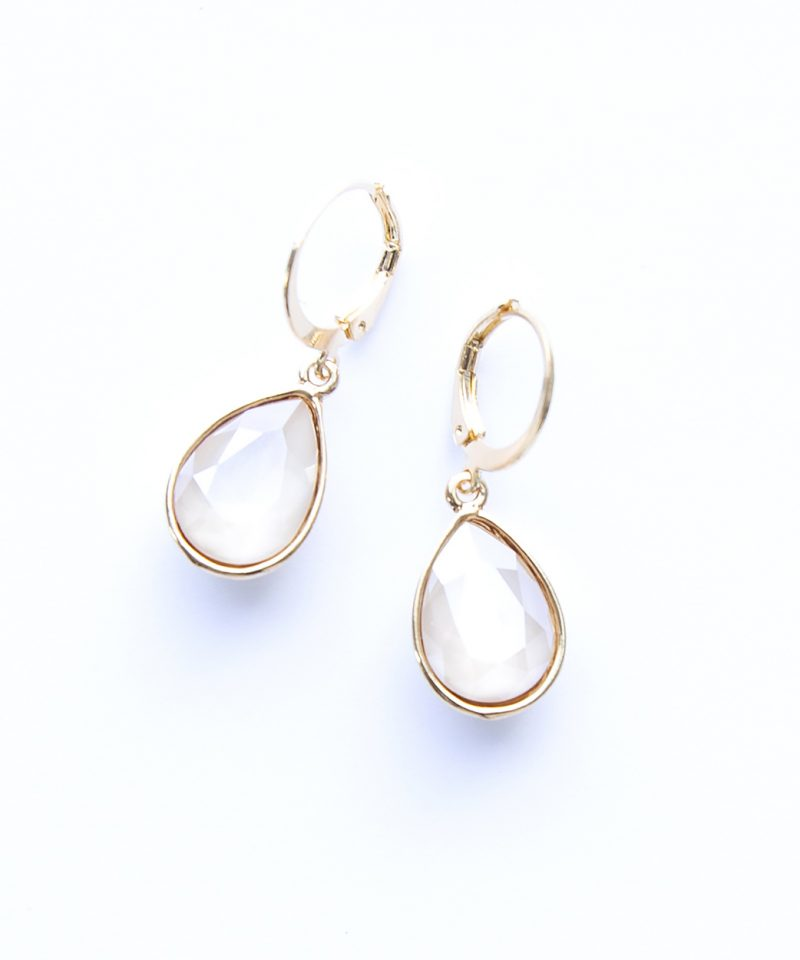 Swarovski Drop Earrings – Nude Opaque