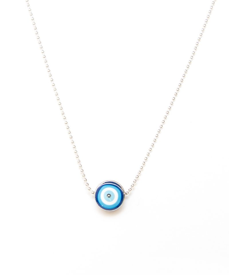 Evil Eye Necklace – Silver Bead Chain