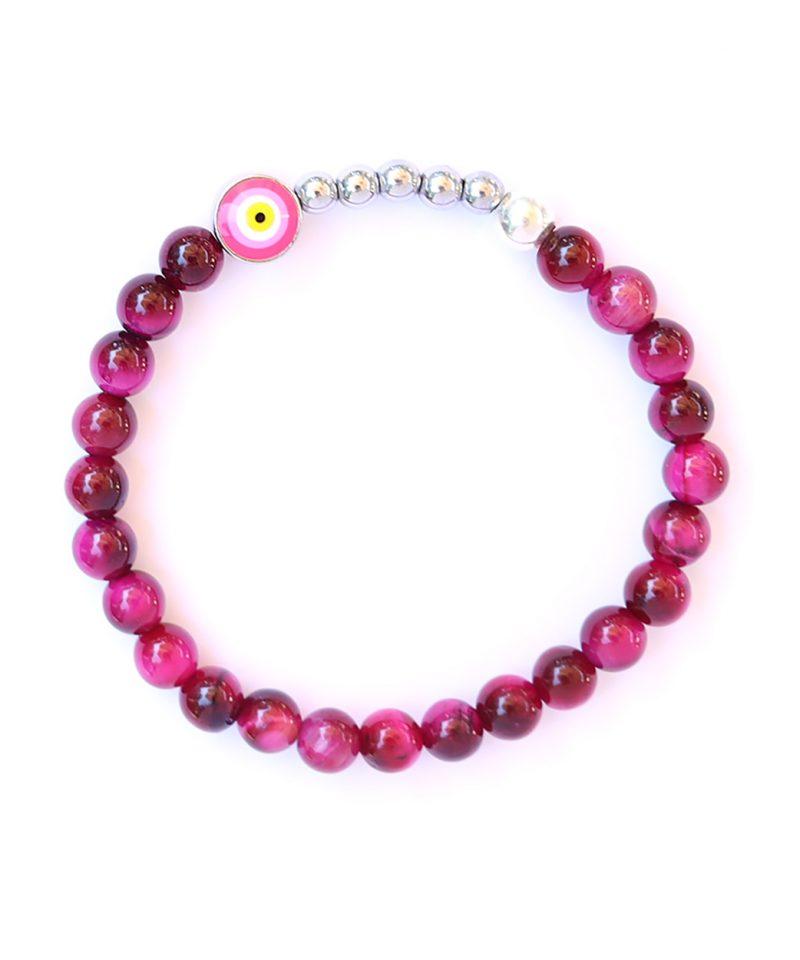 Ojo Bracelet Hot Pink Tiger Eye – Silver