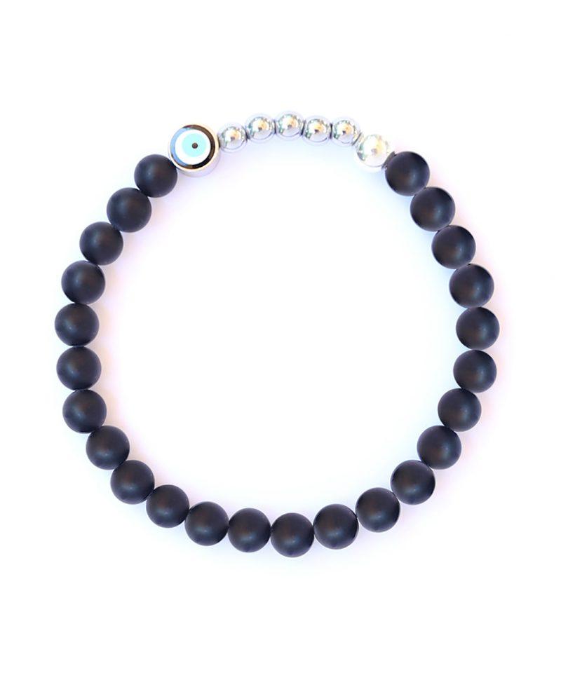 Ojo Bracelet Matte Black Agate – Silver