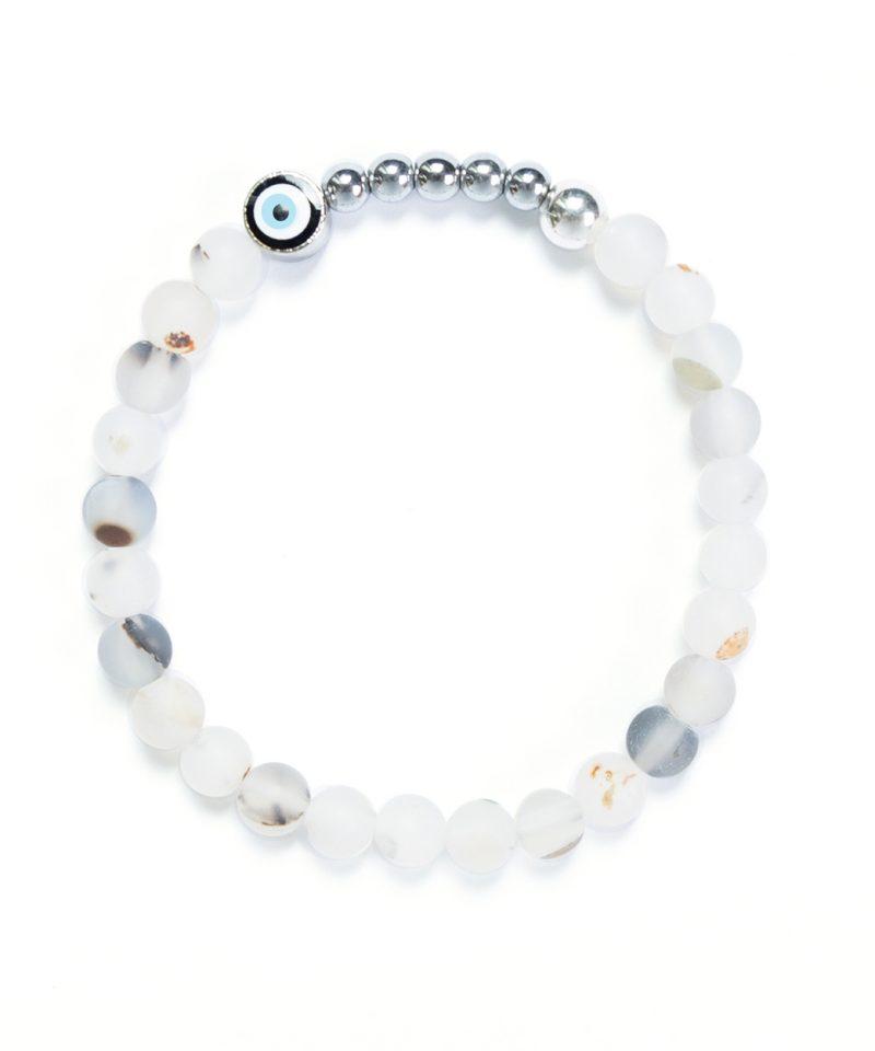 Ojo Bracelet Frosted Motley Agate – Silver